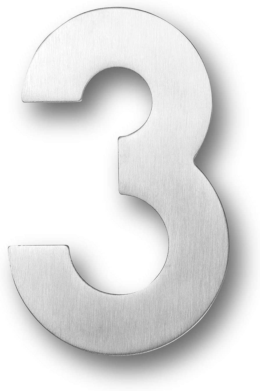 Bebarley 5 Inch Modern Solid Stainless Steel Floating Mount House Numbers and Street Address Plaques Door Numbers