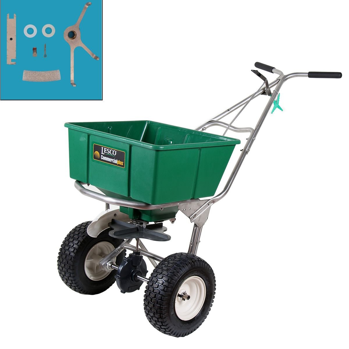Lesco 101186 High Wheel Walk-Behind Fertilizer Spreader with T422400 Breakthru Agitator Kit (Bundle, 2 Items)