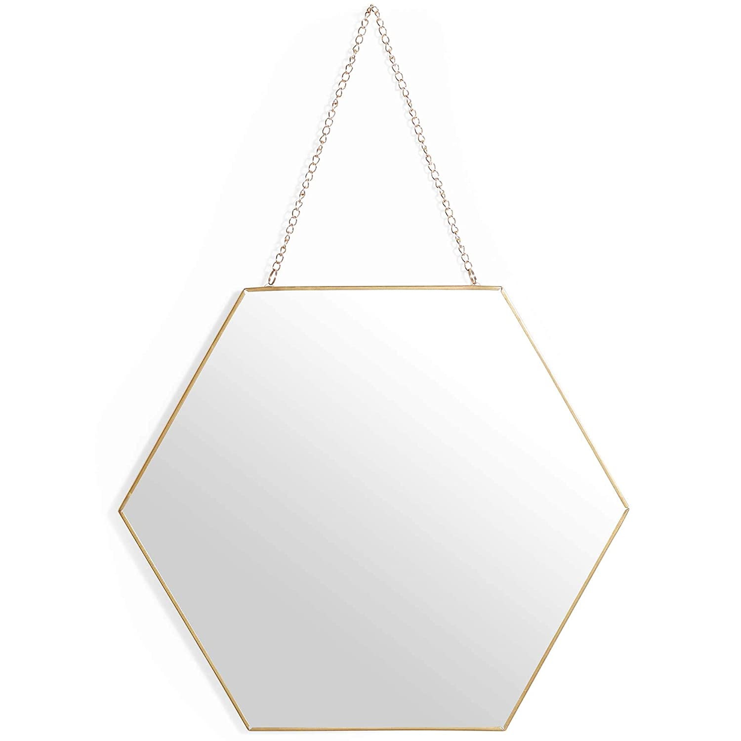 Beautify Hexagon Mirror – Antique Brass Finish – Hanging Chain – Vintage Style 30 x 26cm