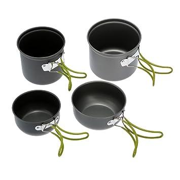 f668f8746a3 Lixada Utensilios Cocina Camping Portátil Aluminio Anodizado Antiadherente  Olla Bowl al Aire Libre para Acampada: Amazon.es: Deportes y aire libre