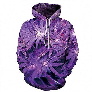 f11f4da6590b 3D Hoodie 3D Purple Weed Leaf Print Sweatshirt Hooded Sweatsuits Tracksuit S