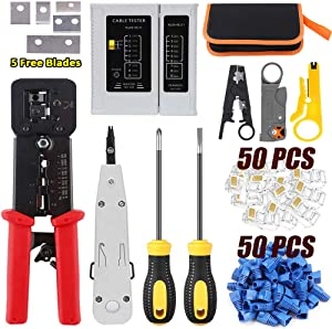 LEATBUY RJ45 Crimp Tool Set for RJ11/RJ12 Pass Through Cat5/Cat5e/Cat6 Crimping Tool for Regular End-Pass-Through with 50PCS Connectors, 50PCS Covers Network Wire Stripper Kit(RED)