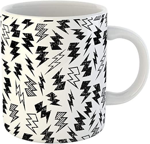 Amazon Com Emvency Coffee Tea Mug Gift 11 Ounces Funny Ceramic Pattern Black And White Distressed Lightning Bolt Kid Gifts For Family Friends Coworkers Boss Mug Kitchen Dining