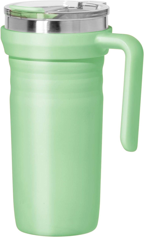 Oggi Ripple Stainless Steel Travel Mug- Travel Bottles, Insulated Coffee Mug, Travel Mug with Handle and Lid, 19oz, Mint (8152.11)
