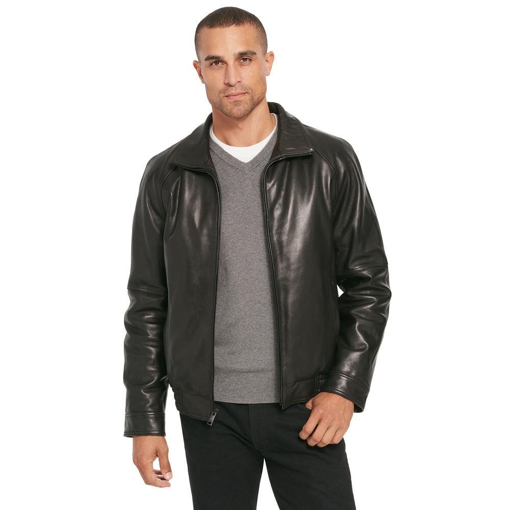 Wilsons Leather Mens Lamb Bomber Jacket W/ Zipout Thinsulate Lining 2XL Black