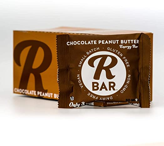 RBar Chocolate Peanut Butter Energy Bars Plant Based Whole Food Snack Bars Just 3 Ingredients, Gluten Free Natural Nutrition Travel Food for Men Women, Adults Toddlers 1.6 oz 10 Count