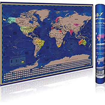 Amazon world explorer premium scratch off world map with scratch off world map poster premium print gift for adventure travelers us states canadian provinces outlined country flags vibrant colors gumiabroncs Image collections