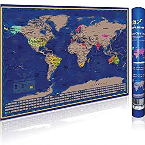 scratch off world map poster premium print gift for adventure travelers u s. Black Bedroom Furniture Sets. Home Design Ideas