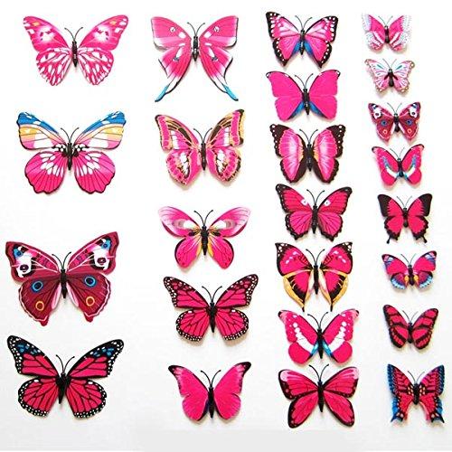 12pcs 3D Butterfly Sticker Art Design Decal Wall Stickers Home Decor (Rhodo) (Candyland Themed Balloons)