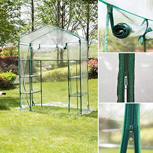 庭の温室 2層8棚透明PVC耐性防水温室植物カバー、屋外、屋内用植物温室