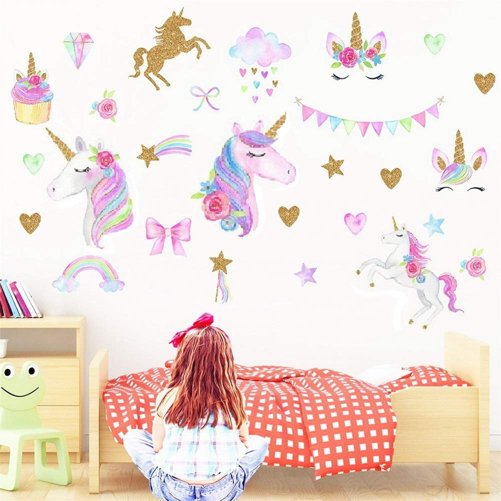 nuoshen 2 Sheets Unicorn Wall Stickers,Fairy Tale Pattern Wall Decoration Home D