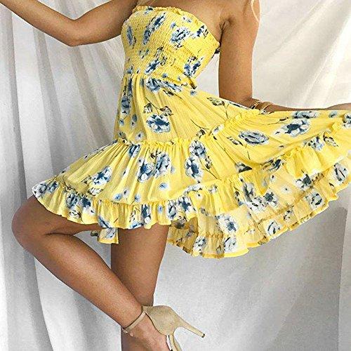... BURFLY 2018 Neueste Frauen Sexy Printing Off Schulterfrei Sleeveless  Minikleid Prinzessin Kleid Elegant Festlich Partykleid Gelb ... 9cd29b726f