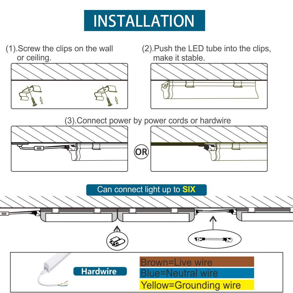 amazon com barrina led shop lights Fluorescent Light Fixtures Wiring Diagram