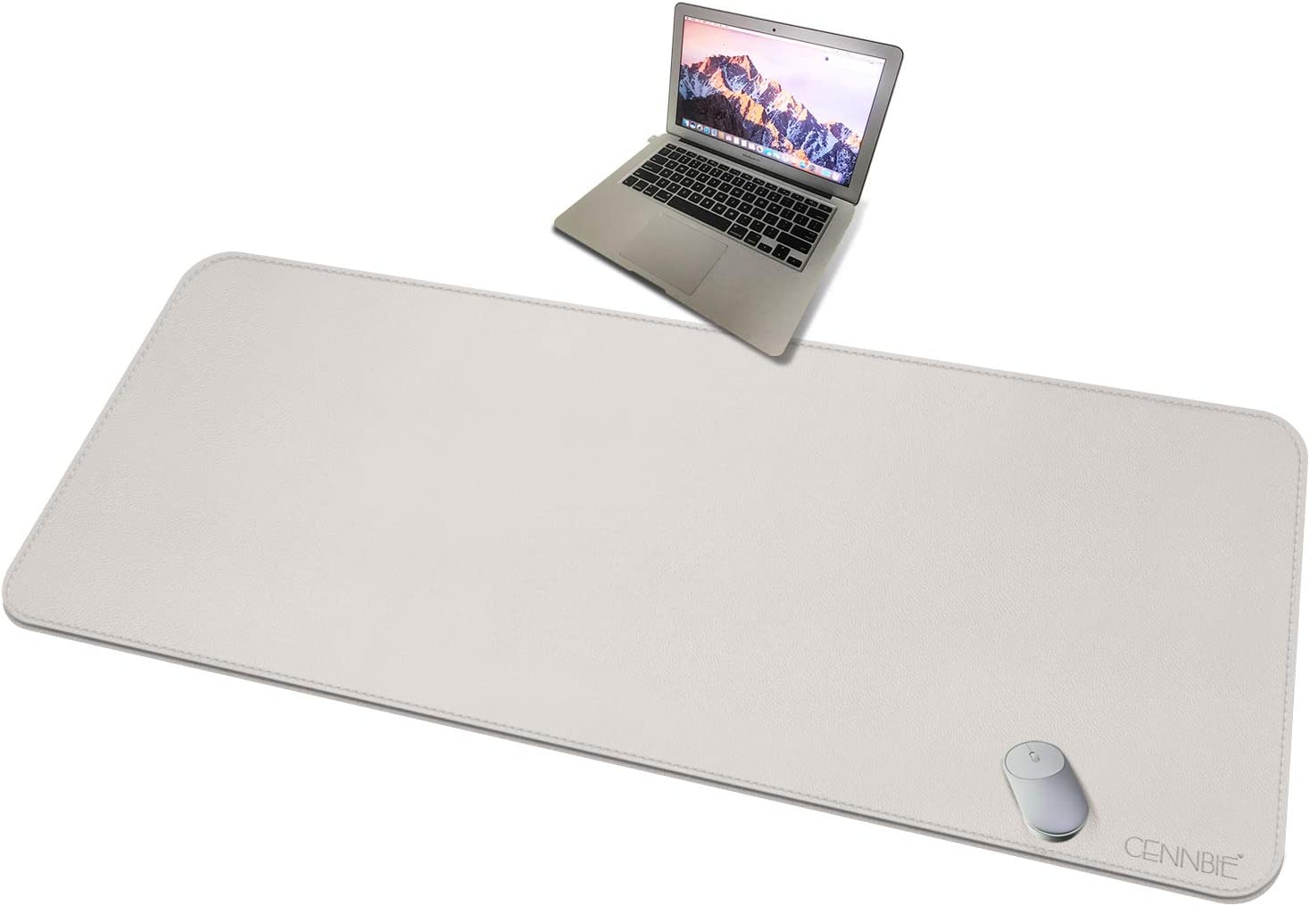CENNBIE 150x70cm 4XL Super Large Desk Mat - Mega Size Premium Vegan Leather Desk Pad - Ultra Ergocomfort Technology (Cream)