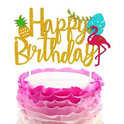 Prime Jevenis Glitter Flamingo Happy Birthday Cake Toppers Birthday Cards Printable Trancafe Filternl