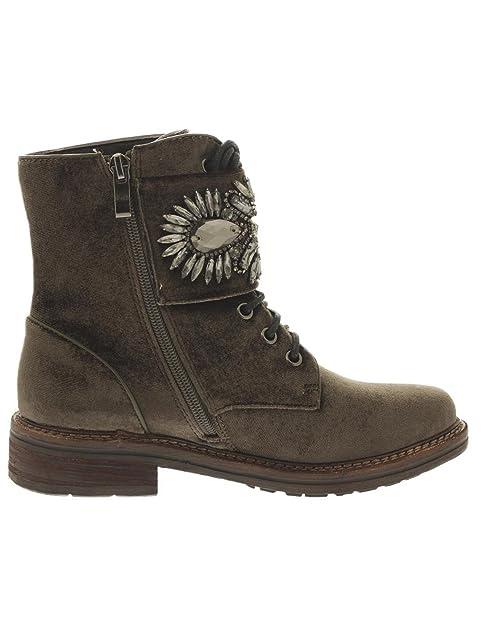 Botin Militar Alma En Pena 482Terciopelo Khaki 38: Amazon.es: Zapatos y complementos
