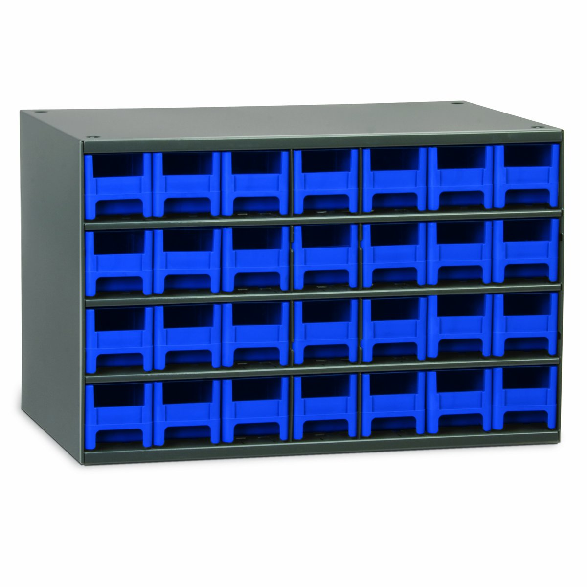 Akro-Mils 19228 17-Inch W by 11-Inch H by 11-Inch D 28 Drawer Steel Parts Storage Hardware and Craft Cabinet, Blue Drawers