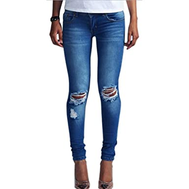 34d04e815c LIYT-TOPSHOP Women's Knee Ripped Hole Low Waist Denim Jeans Pants Dark Blue
