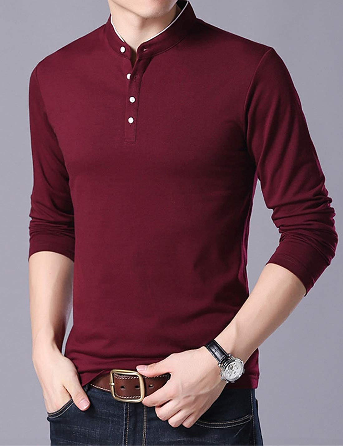 Jenkoon Mens Casual Slim Fit Long Sleeve Henley T-Shirts Polo Cotton T-Shirts