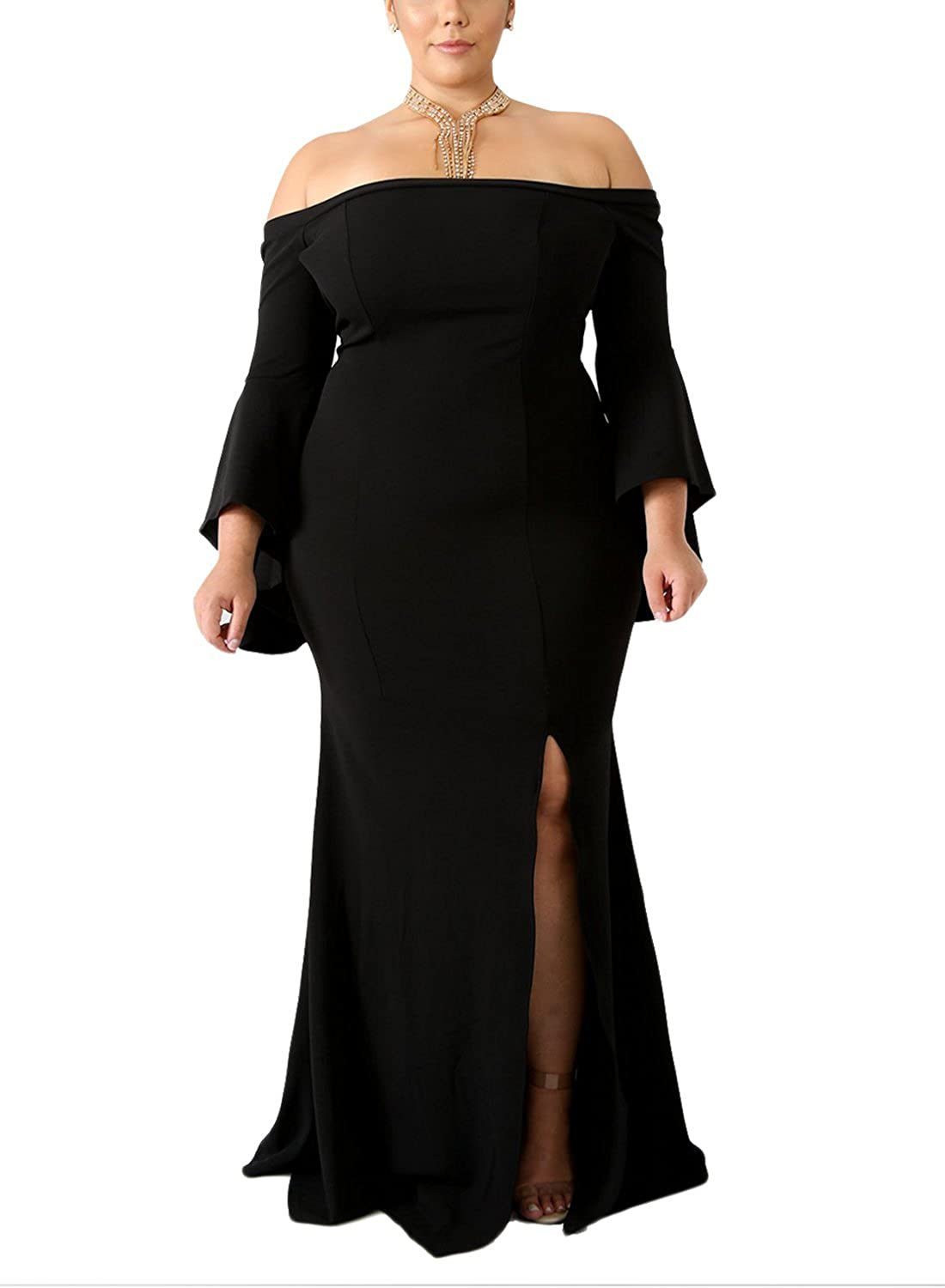 00fab3dd058 Sexy Design -- This Plus Size Long Evening Dress with side slit and sexy off  shoulder design will give you a elegent and sexy look.