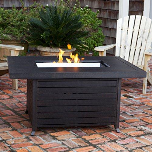 Fire Sense Extruded Aluminum Rectangular LPG Fire Pit, 40,000 BTUs, Stainless Steel (40000 Btu Freestanding Patio Heater)
