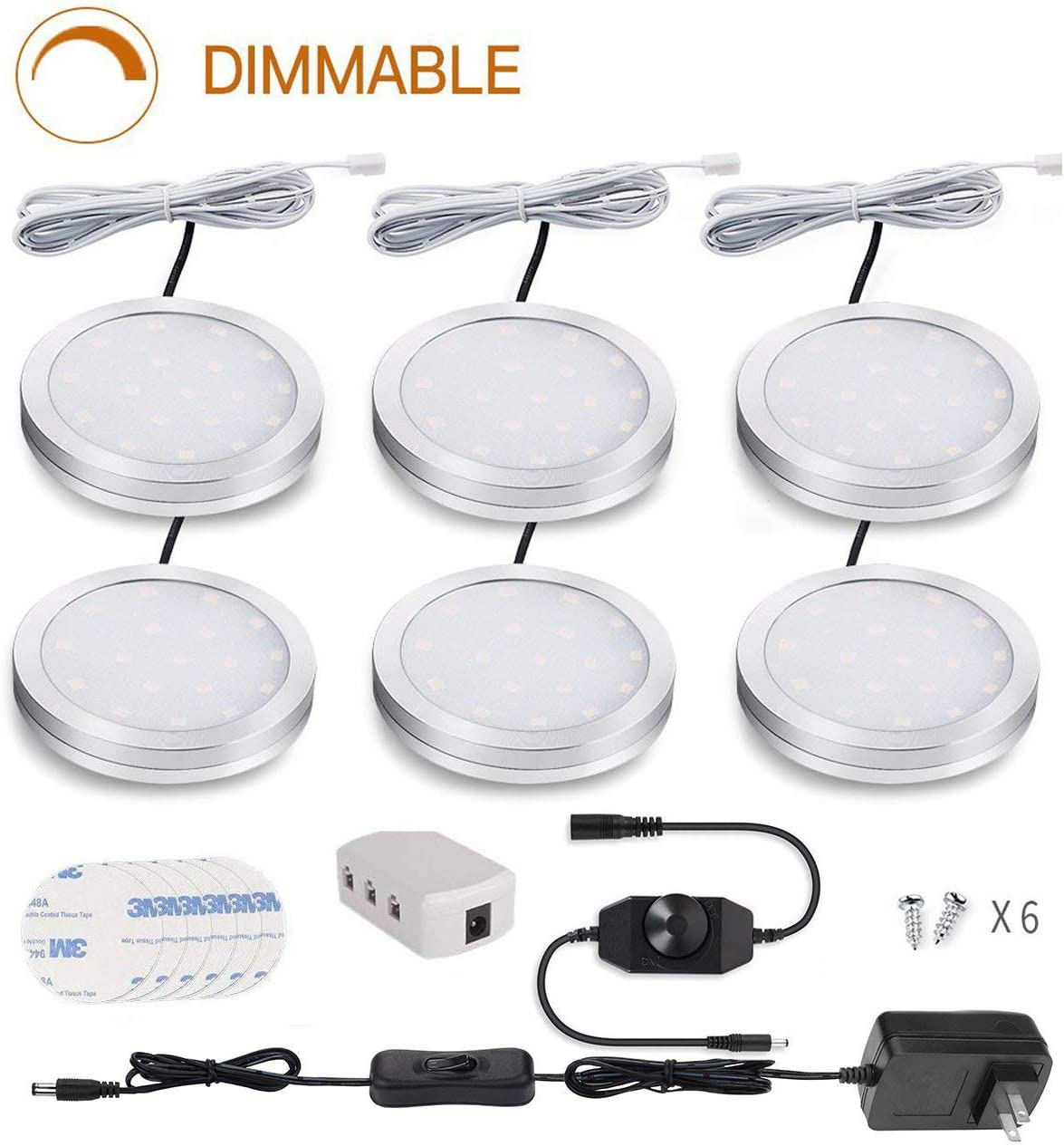 Cefrank LED Puck Lights, Set of 6, White Dimmable Under Cabinet Lighting, Led Under Counter Lighting for Kitchen Closet, Bookcase, Shelf, All Accessories Included 6Pack,White