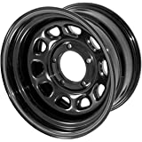 Outland 391550001 These black D-window steel wheels from Outland Automotive measure 15x8 inches with a 5x4.5 inch bolt patter