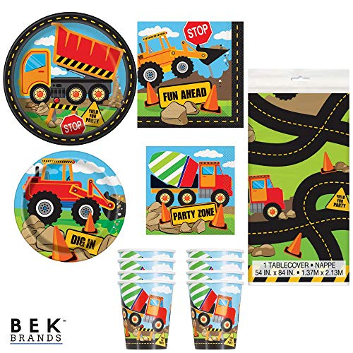 Bek Brands Boy's Birthday Party Truck Construction Bundle Plates, Napkins, Cups and Tablecover - 57 pieces! -