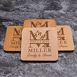 Personalized Monogram Beech Wood Coasters for Drinks – Personalized Wedding Gifts Bridal Shower Gifts – Custom Coasters…