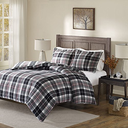 Caden Cotton Yarn Dyed Flannel Reversible Comforter Set Black/Red Queen (Park Flannel)