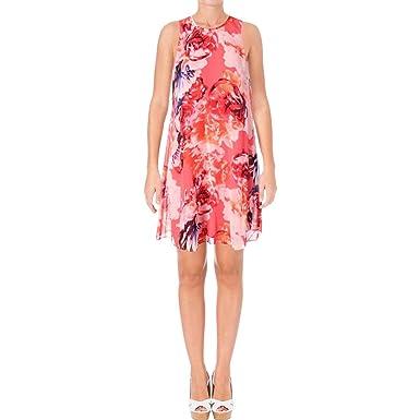 3c8ec7f21093a Calvin Klein Womens Floral Chiffon Trapiz Dress at Amazon Women s ...