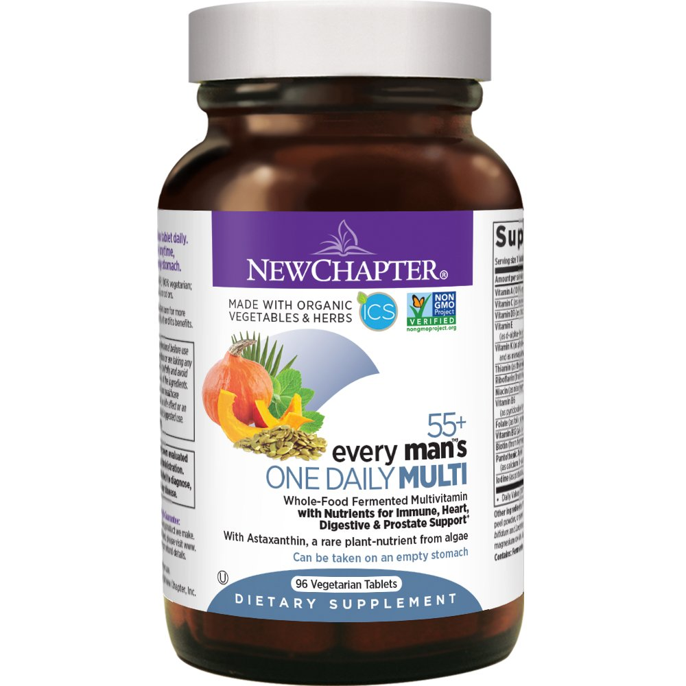 New Chapter Multivitamin for Men 50 Plus - Every Man's One Daily 55+ with Fermented Probiotics + Whole Foods + Astaxanthin + Vitamin D3 + B Vitamins + Organic Non-GMO Ingredients - 96ct