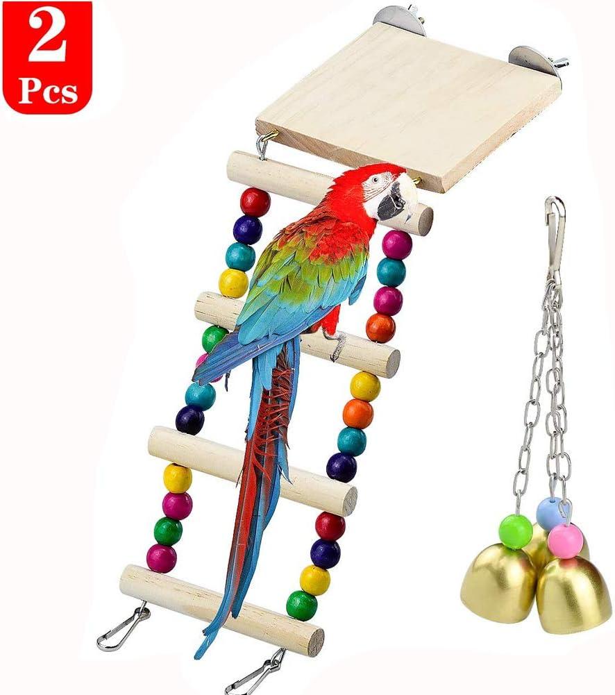 Wandefol 2pcs Juguete de Loro, Campana de Loro, Escalera de Pájaro, Juguete de Pájaro Campana 18cm Escalera de Madera 23cm para Masticar Divertirse Decoración de Jaula 100% Seguro Instalación Rápida: Amazon.es: Productos