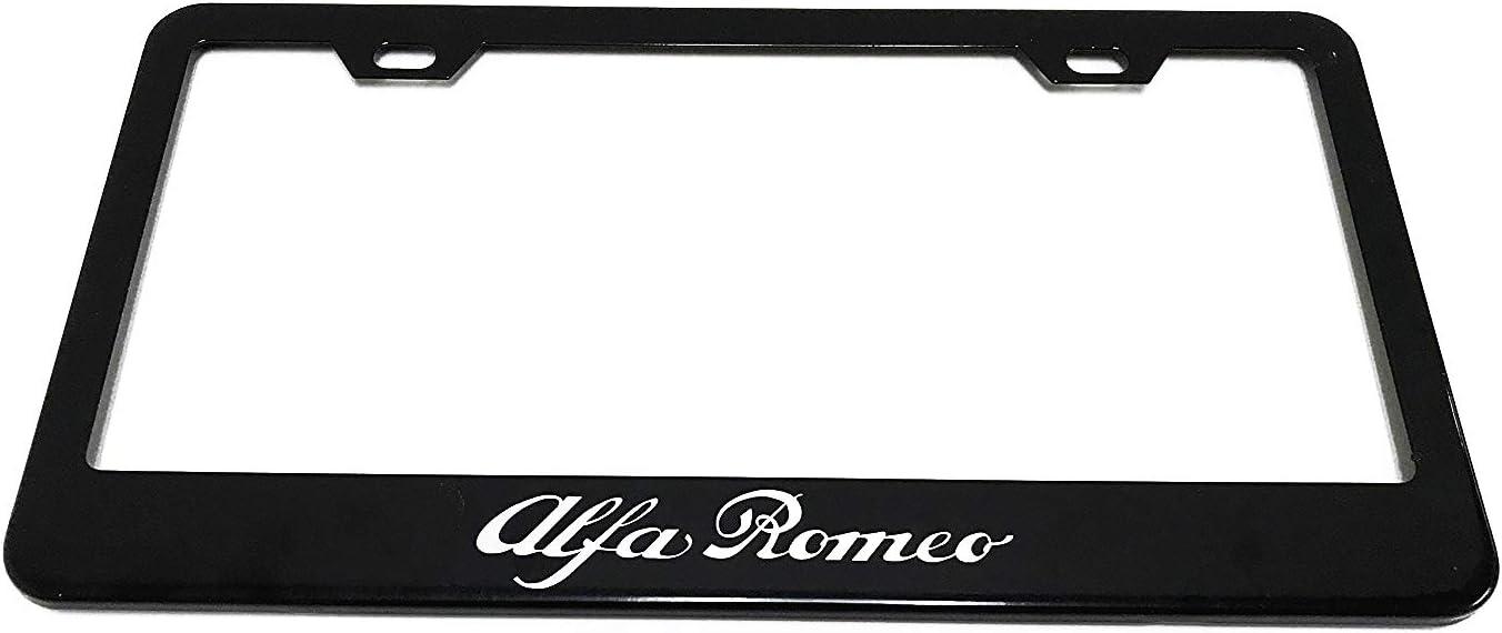 Alfa Romeo Black License Plate Frame (Zinc Metal)