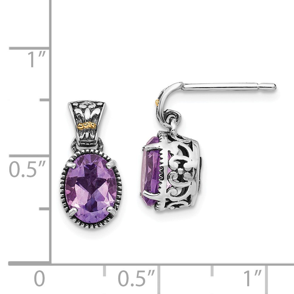 Shey Couture Sterling Silver with 14k Amethyst Earrings One Size