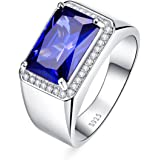 BONLAVIE Men's 7.0ct Radiant Cut Created Blue Sapphire 925 Sterling Silver Wedding Band Engagement Ring