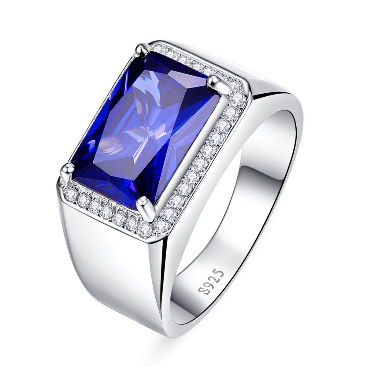 BONLAVIE 7.0ct Square Created Blue Sapphire 925 Sterling Silver Men's Ring Size 6