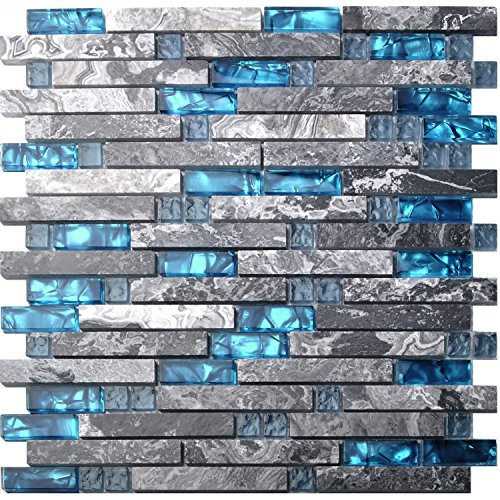 Home Building Glass Tile Kitchen Backsplash Idea Bath Shower Wall Decor Teal Blue Gray Wave Marble Interlocking Pattern Art Mosaics TSTMGT002 (5 Square Feet)