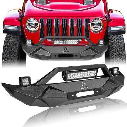 Hunter Blade Front Bumper W Winch Plate 72w Light Bar 2x 18w Spotlights License Plate Bracket For 2007 2019 Jeep Wrangler Jk Jku Jl