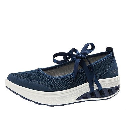 Logobeing Zapatillas de Plataforma con Cojines de Aire para Mujer Respirable Mocasines Zapatillas de Deporte con Deslizamiento Casual Zapatos Gimnasio ...