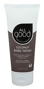 All Good Hand & Body Lotion w/Essential Oils - Moisturizing Organic Lotion w/Calendula, Cocoa Butter, Coconut & Rose Hip Oil - Non GMO - Vegan - 6 oz (Coconut)