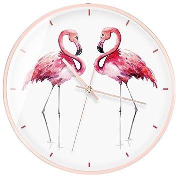 LOTOS Reloj De Pared del Flamenco Relojes De Cuarzo del Metal Mudo Creativo De Alta Calidad 14Inches,D: Amazon.es: Hogar