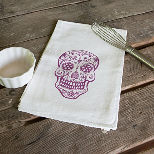 Sugar Skull Screen Printed Tea Towel,