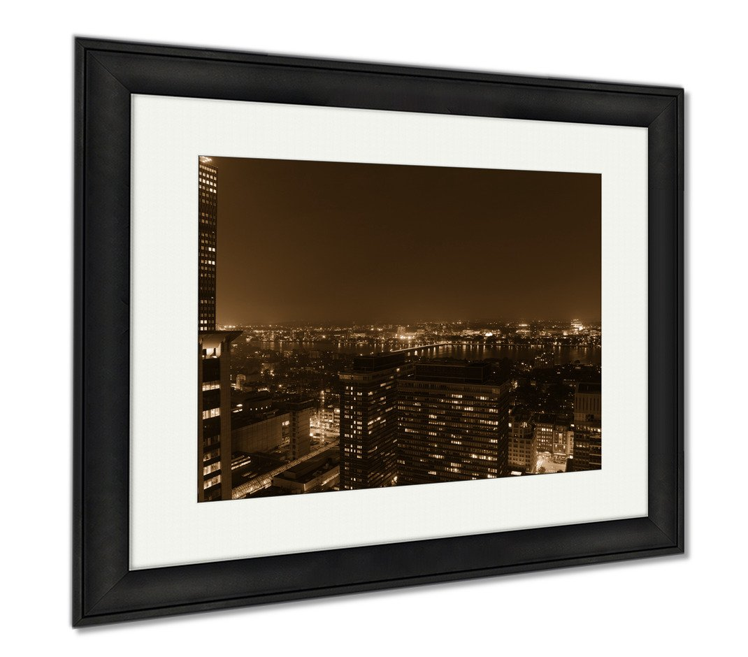 Ashley Framed Prints Aerial View Of Mit Campus On Charles River Bank At Night Boston Massachusetts, Modern Room Accent Piece, Sepia, 34x40 (frame size), Black Frame, AG6334942
