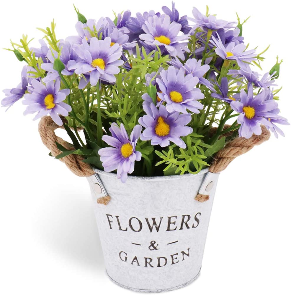 CASMON Potted Artificial Daisy Flowers in Metal Pot, Fake Silk Bonsai Plants with Vase for Indoor Bedroom Home Décor, Wedding Arrangements, Office Desk, Windowsill Decorations (Purple)