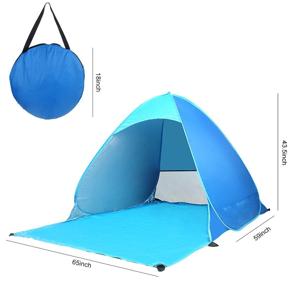 DOPTIKA Automatic Pop Up Instant Portable Outdoors Quick Cabana Beach Tent Sun Shelter Beach Umbrella Portable Cabana Shade Outdoor Pop Up Anti-UV 50+