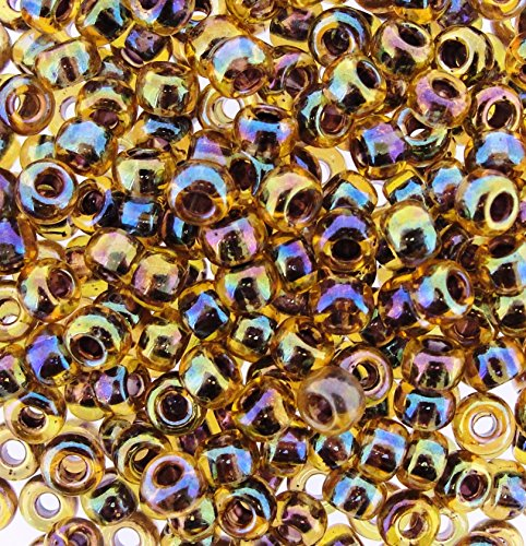 6/0 ROUND BERRY LINED LT TOPAZ AB MIYUKI SEED BEADS APPX 20GM TUBE