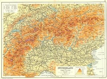 Alpen Schweiz Und Die Alpen Hohe Peaks Berge 1909 Karte