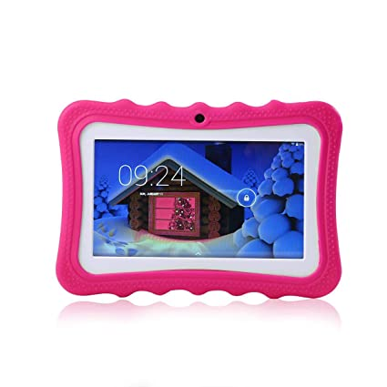 Quad Core Camera 8GB 7 Inch Tablet Case Kids Android 4.4 Google HD Kids Tablet PC with Kids Tablet Screen Protector Kid-proof Silicone Case IPS Display Screen KOBWA Kid Tablet Wifi