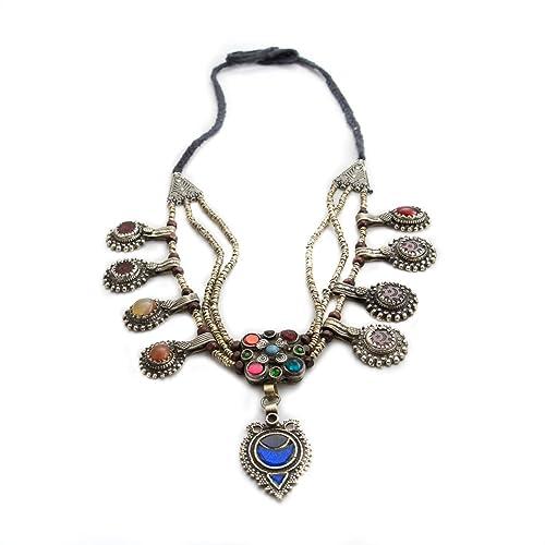 38b700ba22a3 Afgano Tribal Chokar Collar con perlas de imitación turquesa rojo y oro  Kuchi Gypsy Joyería  Amazon.es  Joyería